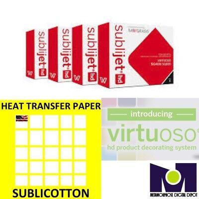 Sawgrass Virtuoso Sg400sg800 Ink Set Cmyk Plus 100 Sheets Of Sublicotton Combo