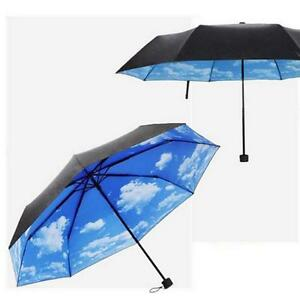 50 anti uv sun protection umbrella blue sky 3 folding parasols rain umbrella z ebay. Black Bedroom Furniture Sets. Home Design Ideas