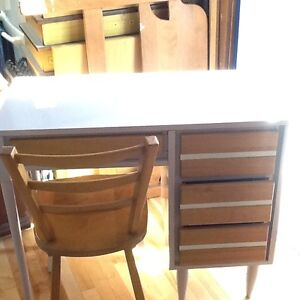 Vanity/ desk - light purple, grey, and stained