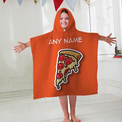 Kinder Personalisiert Handtuch-Umhang mit Kapuze Retro Pizza Kinder Bademantel