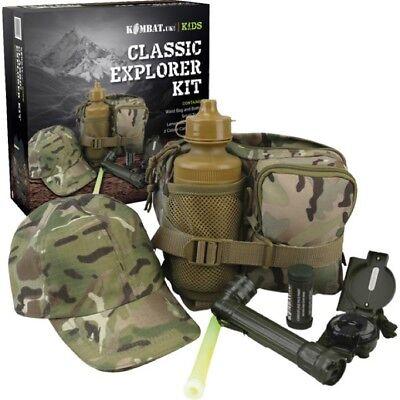GIFT BOXED BOYS ARMY EXPLORER KIT CAP TORCH BAG WATERBOTTLE CREAM KIDS BTP CAMO (Kids Army Kit)