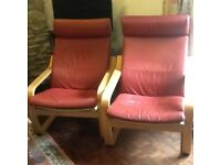 2 Tan leather Ikea easy chairs, can be taken appart.