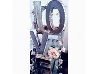 Birch & Iron Love Letters & Vintage Ladder - Hire £40