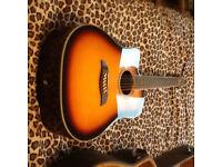 Left handed Washburn 12 string semi acoustic guitar