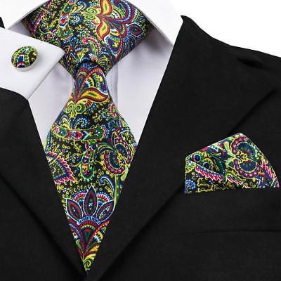 USA Classic Mens Tie Yellow Paisley Silk Necktie Jacquard Woven Wedding Party ()