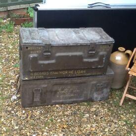 2 ammunition metal boxes