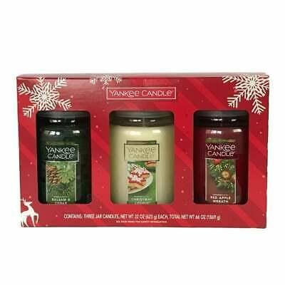 Yankee Candle Set Christmas Cookie Red Apple Wreath Balsam Cedar 3 Lg Jars