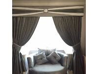 FULLY LINED, EXTRA GATHER CURTAINS & PADDED PELMET WITH MATCHING TIE BACKS!!!!!!!