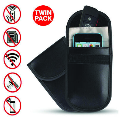 2x Car Key Signal Blocker Case Faraday Cage Pouch Fob Keyless RFID Black Bag