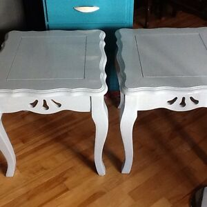 2 light blue side tables
