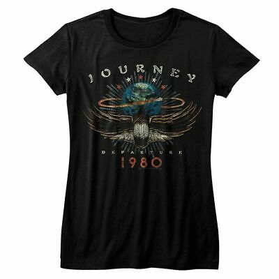 Journey Womens Short Sleeve T-Shirt Black 1980 Crewneck Graphic Fashion (1980 Womens Fashion)