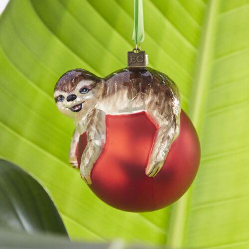 Sloth On Ball Glass Ornament  Eric Cortina New