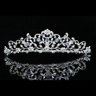 Blue Bridal Wedding Rhinestone Crystal Floral Tiara Crown V797