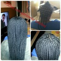 single braids, senegalese twist, crochet, weave, wig