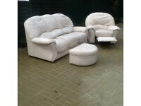 FREE - 3 seater leather settee, 1 leather recliner chair & 1 foot stool