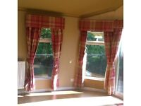 Red/ burg check curtains