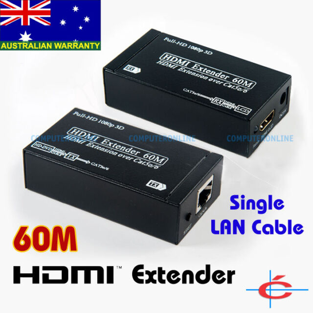 60m HDMI Extender Extension 1080P w/ Audio over Single RJ45 LAN Cable 60 meters
