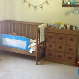 Next 3 piece nursery furniture plus mattress for cot bed
