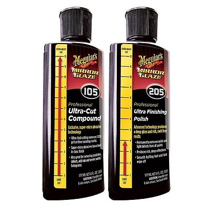 (Meguiar's Mirror Glaze #105 & #205 Ultra Cut Compound & Finishing Polish 8oz Set)