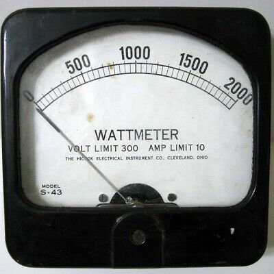 Hickok 0 - 200 Watt Meter - S-43 - Limit 300 V 10 A - Square Black Panel Meter