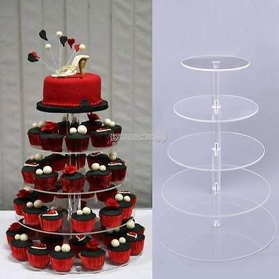 5Tier Crystal Clear Acrylic Round Cup Cake Stand Tower Wedding Baby Shower Decor