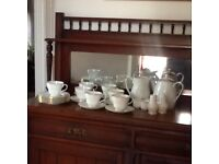 White and gold rim tea cups, saucers, plates etc