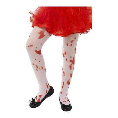 Girls Blood Stained Bloody Tights Zombie Halloween Childrens Fancy Dress