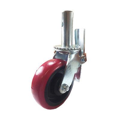 Scaffold Caster 6 X 2 Red Pu Wheel Locking Brake 1-38 Stem 900 Lbs Capacity