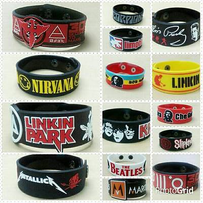 Wristbands Rubber Rock Band Logo Badge Heavy Metal Punk Bracelet Silicone - Rubber Rock