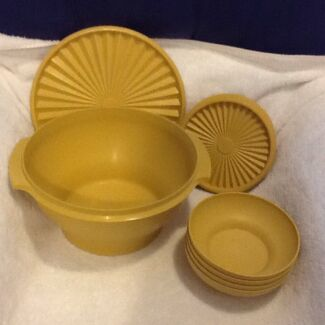 Tupperware Large Servalier Bowl, Salad Servers and Cereal Bowls Rothwell Redcliffe Area Preview