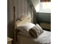 French painted single four poster bed