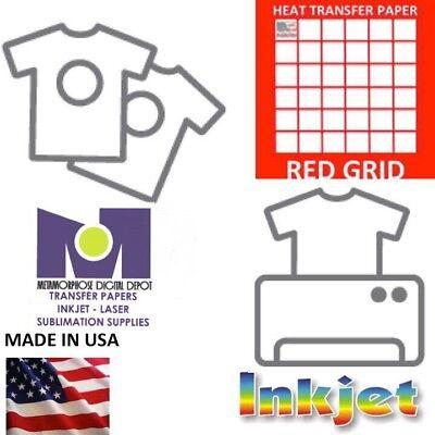 200pk Light Transfer Paper For Inkjet Printer Red Grid 8.5 X 11