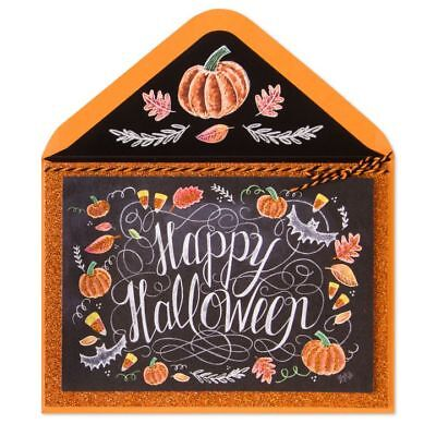 Papyrus Lily & Val Chalk Board Glitter Happy Halloween Pumpkins Spooky Day Card