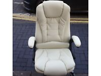 LEATHER CREAM CHAIR