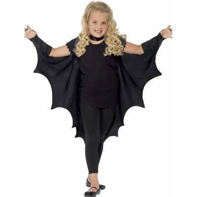 KIDS Black Vampire BAT WINGS CAPE Girls Boys Halloween Fancy Dress Costume - Girls Vampire Halloween Costumes