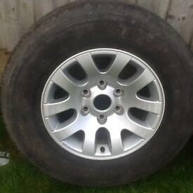 Alloy wheels x 4 plus 2 tyres 245/70 x 16 Bridgestone Dueller