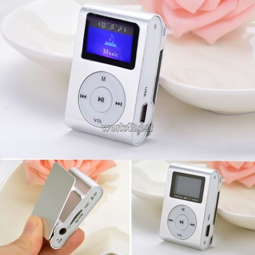 Silver Practical Mini USB Clip MP3 Player 32GB Micro SD Card LCD Music Media