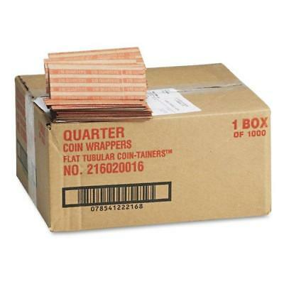 NEW Coin-Tainer Company Pop-Open Flat Paper Coin Wrappers - Quarters - 1,000 Ct.