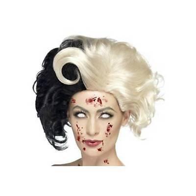 Deluxe Cruella De Ville Perücke Evil Madame Zombie Damen 101 Dalmatiner Kostüm
