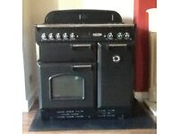 Rangemaster Classic 90cm duel fuel range cooker in black & chrome finish pre-owned
