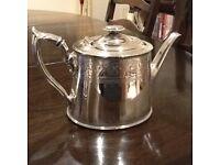 Vintage Sheffield plated teapot, jug and sugar bowl