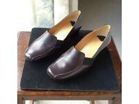 Van Dal dark brown leather court shoe