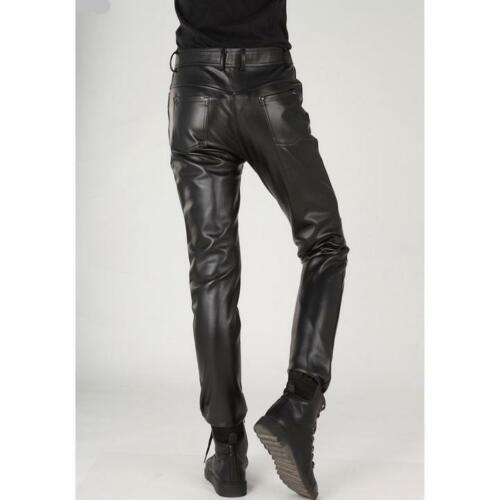 Stylish Men Leather Pants Slim Fit Fashion Korea Trousers Skinny