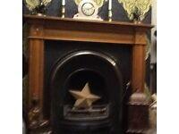 Cast iron fire, hearth & wooden surround