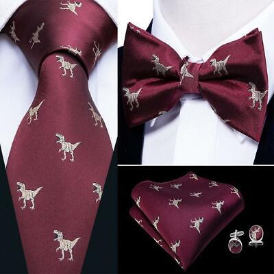 USA Red Burgundy Dinosaur Tie Bowtie Set Silk Mens Adjustable Tuxedo Printed