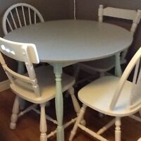 Light blue & grey table w/4 mix match chairs