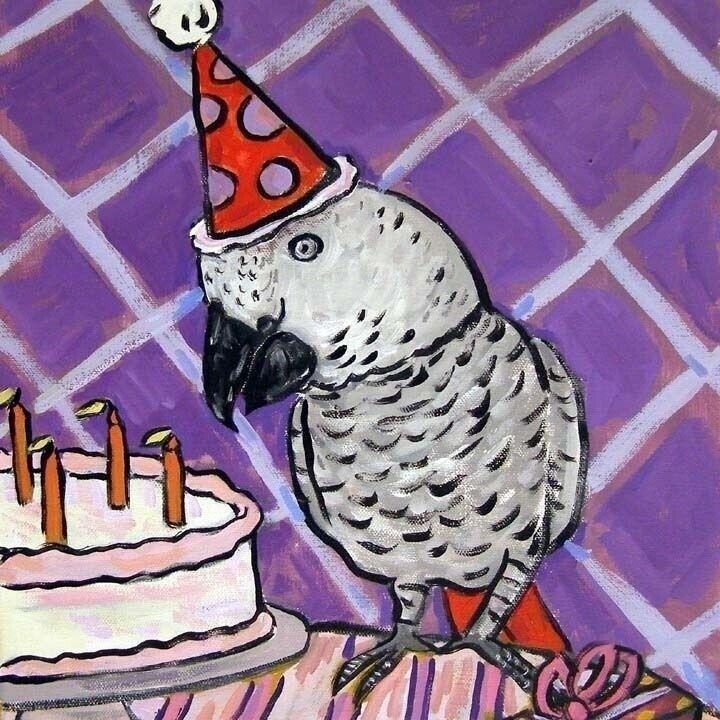 Картинки с днем рождения попугай