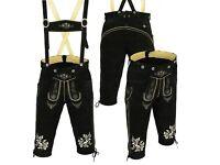 Men's New Black Genuine Premium Leather Bavarian Lederhosen Short Size 30''-42''