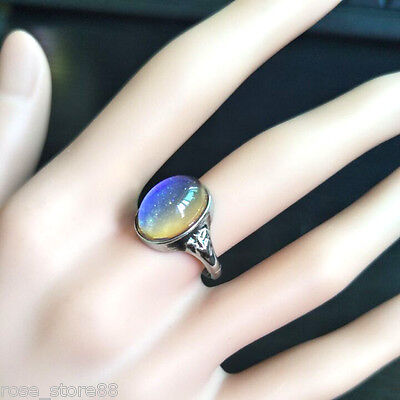 Kids Adult Magic Temperature Emotion Feeling Mood Ring Band Color Changing Char