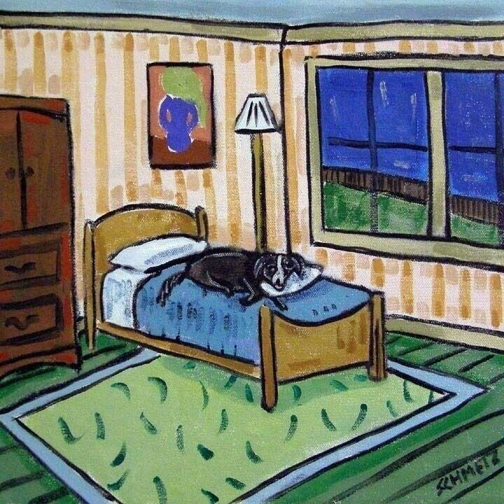 Border Collie Sleeping bedroom coaster  DOG art tile gift